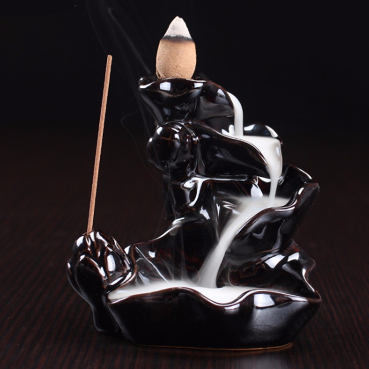 Backflow Incense Cone Burner Holder Ceramic Lotus Strea