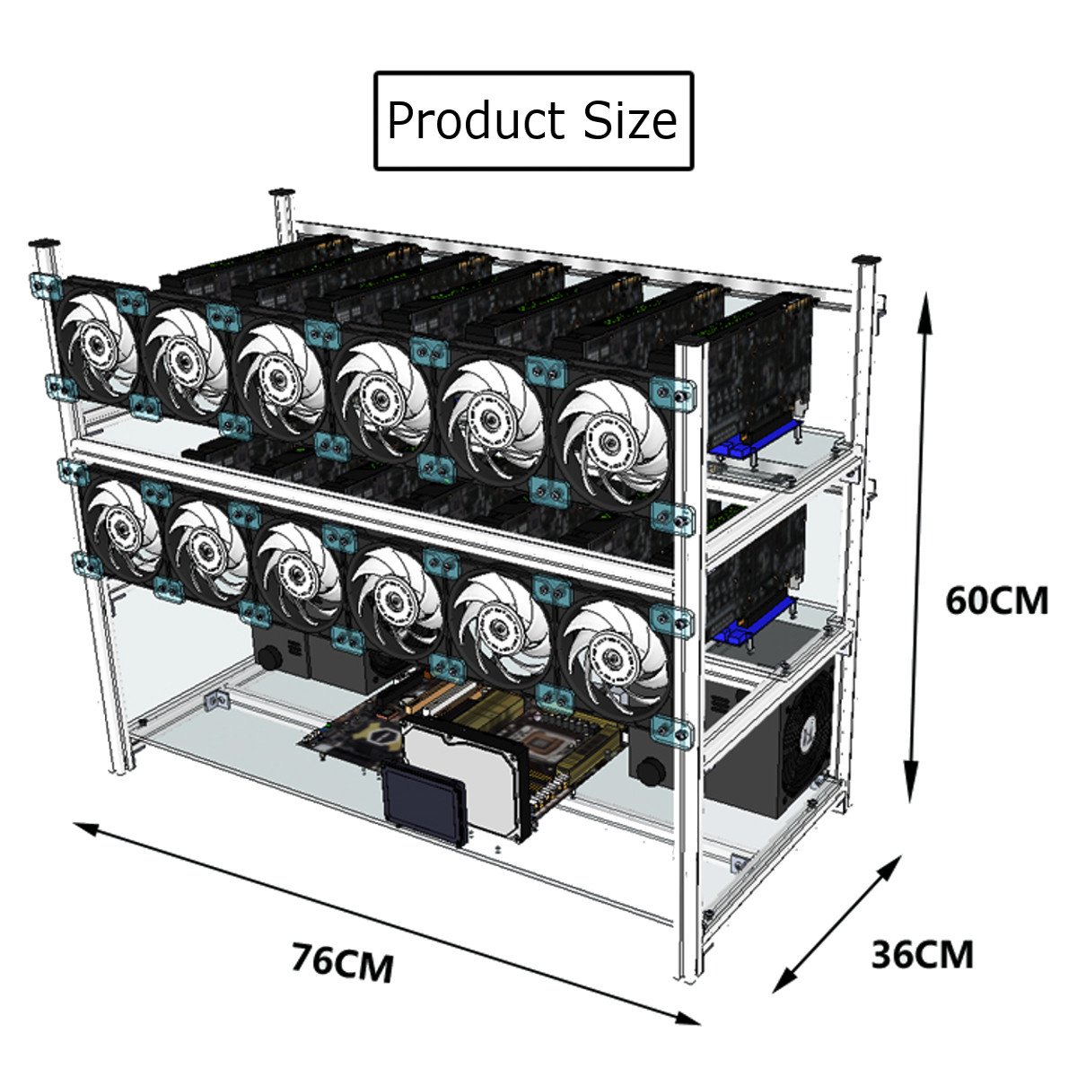 Aluminum Open Air Mining Stackable Frame Rig Case 14 GPU For ETH Ethereum ZCash Bitcoin