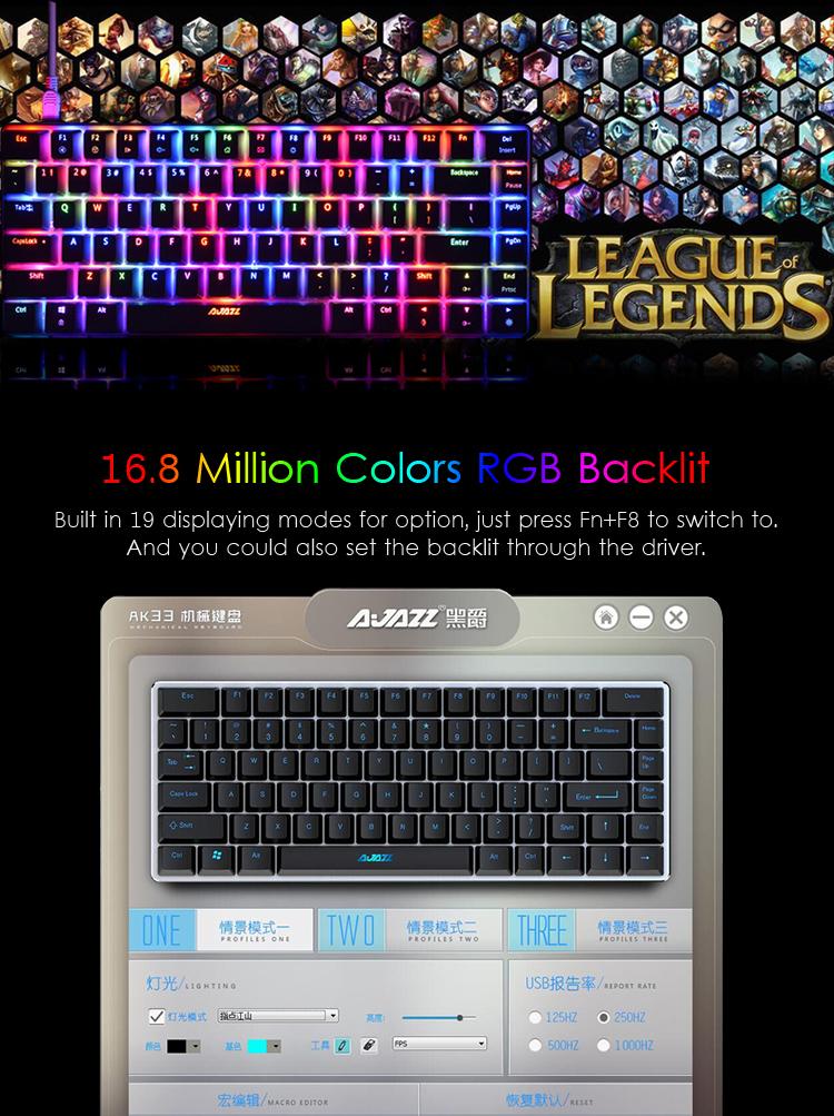 AJazz AK33 82 Keys RGB Backlit Detachable USB Wired Mechanical Gaming Keyboard