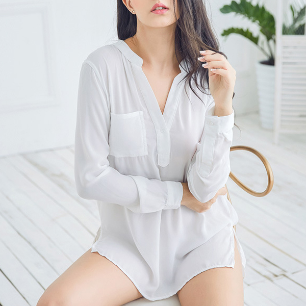 Chiffon Minimalism Long Sleeves White Shirt Tracksuit