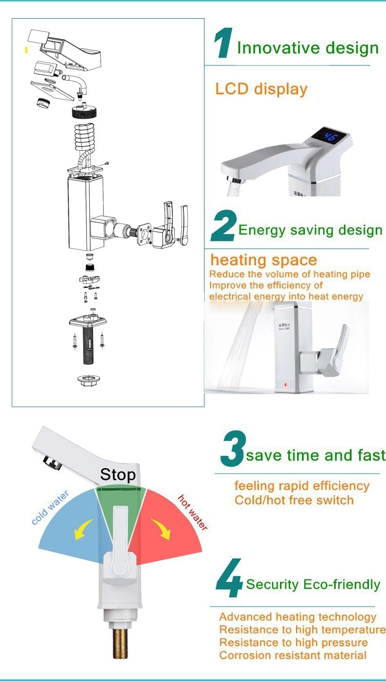 2500W Bathroom Kitchen Instant LED Display Hot Water Tap Electric Water Faucet Tankless Electric Water Heater