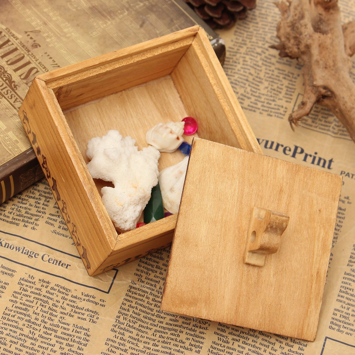 Retro Wooden Animal Cute Dog Jewelry Collection Storage Box Case Adorable