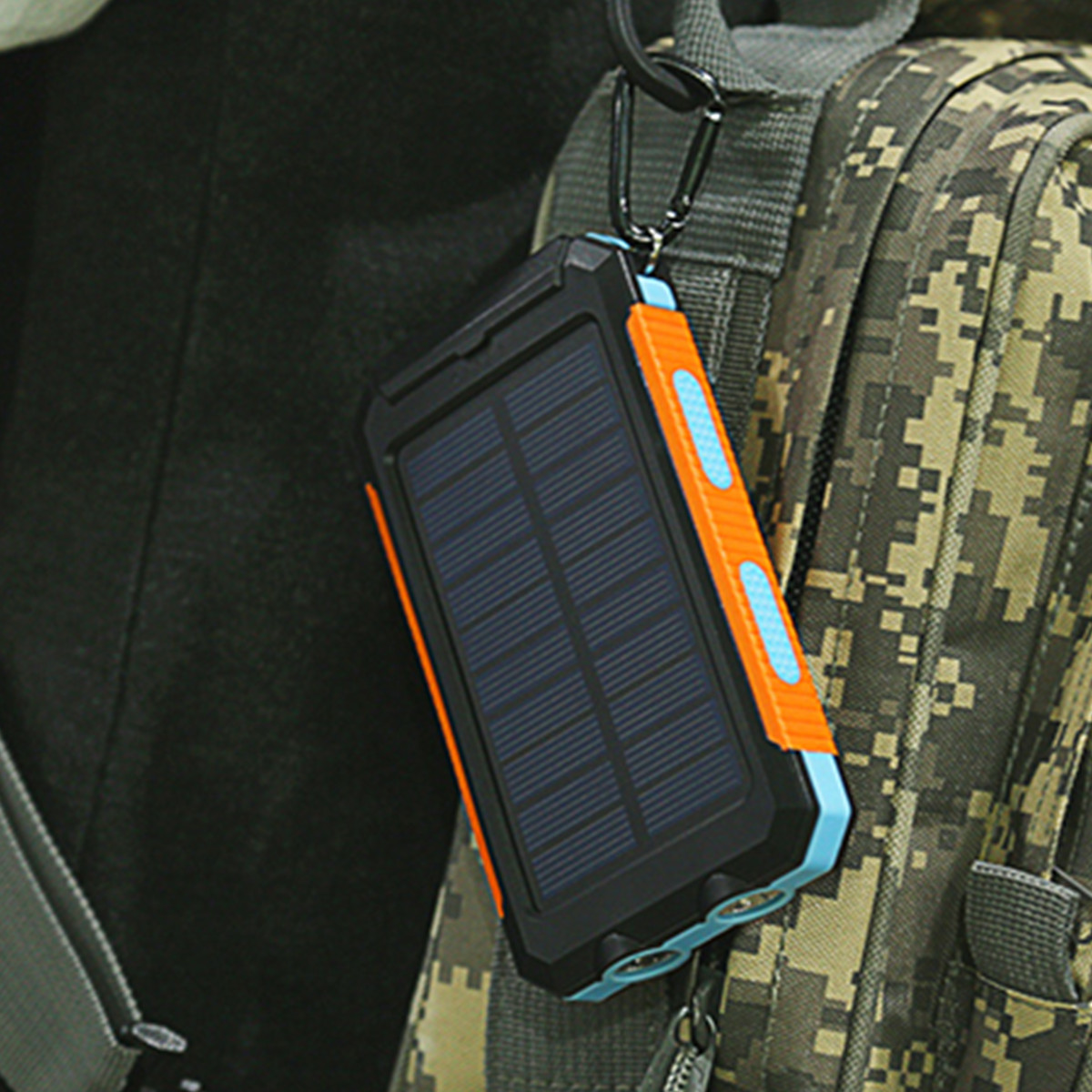 20000mAh DIY Power Bank Portable Solar Charger Case Compass Flashlight Dual USB Port for Cellphone