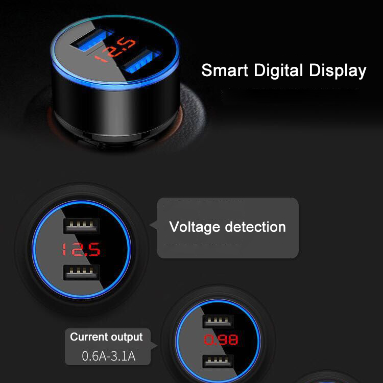 Bakeey Digital Voltage Diplay Dual USB 3.1A Fast Car Charger With LED Light For Mobile Phone Tablet