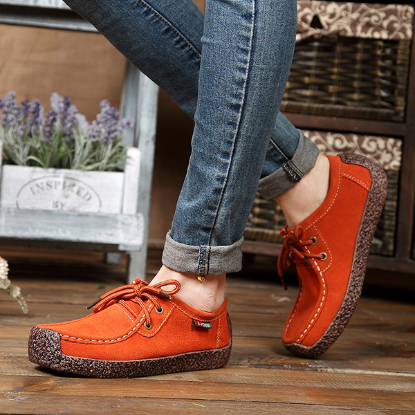 US Size 5-11 Women Suede Casual Outdoor Lace Up Comfy Flat Shoes