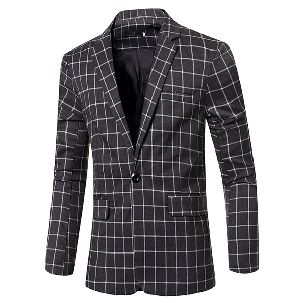Mens Fashion Casual Plaid Blazers Suit Jacket