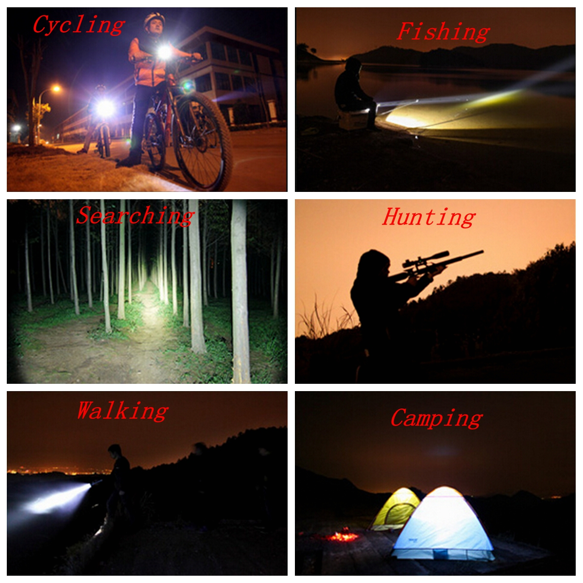 XANES 2713-B 1500 Lumens Bicycle Headlamp 4 Switch Modes 3 x T6 LED White Light Telescopic Zoom