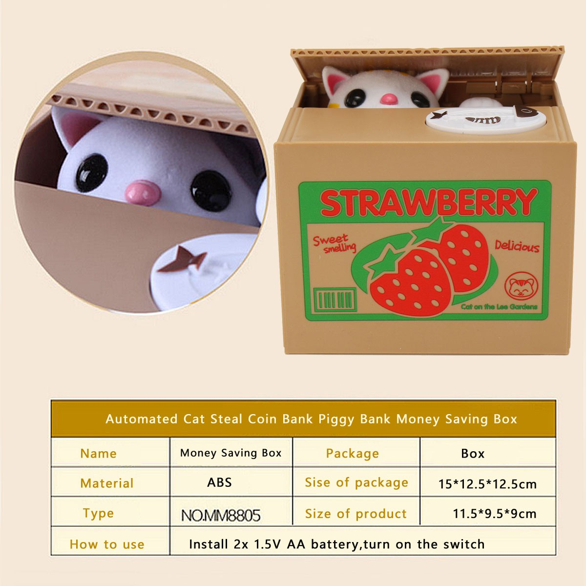 Cute Itazura Stealing Coin Cat Penny Cents Piggy Bank Monkey Saving Box Kids