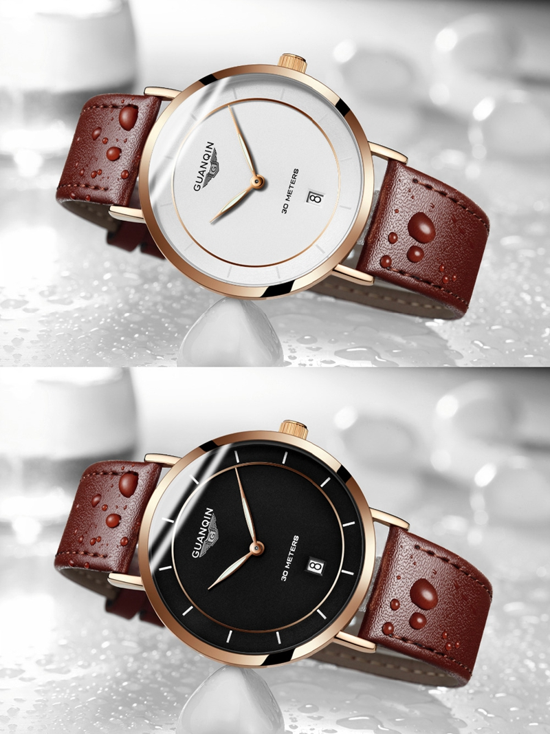 GUANQIN GS19070 Classic Luxury Simple Design Leather Watch Band Fashion Men Quartz Wrist Watch