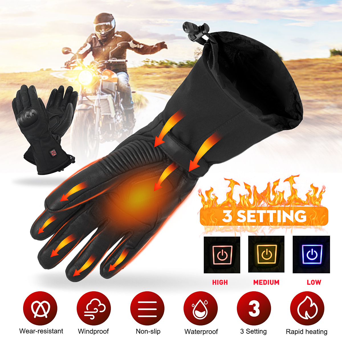 Electric Heated Gloves Heating Mittens Rechargeable Battery Winter Warmer Motorcycle