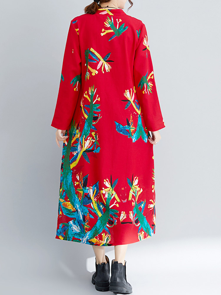 Vintage Long Sleeve Plate Buckle Folk Style Print Dress