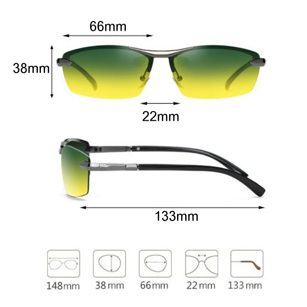 Men's Polarized Sunglasses Day Night Vision UV400 Eyewear Driving Pilot Sun Glasses