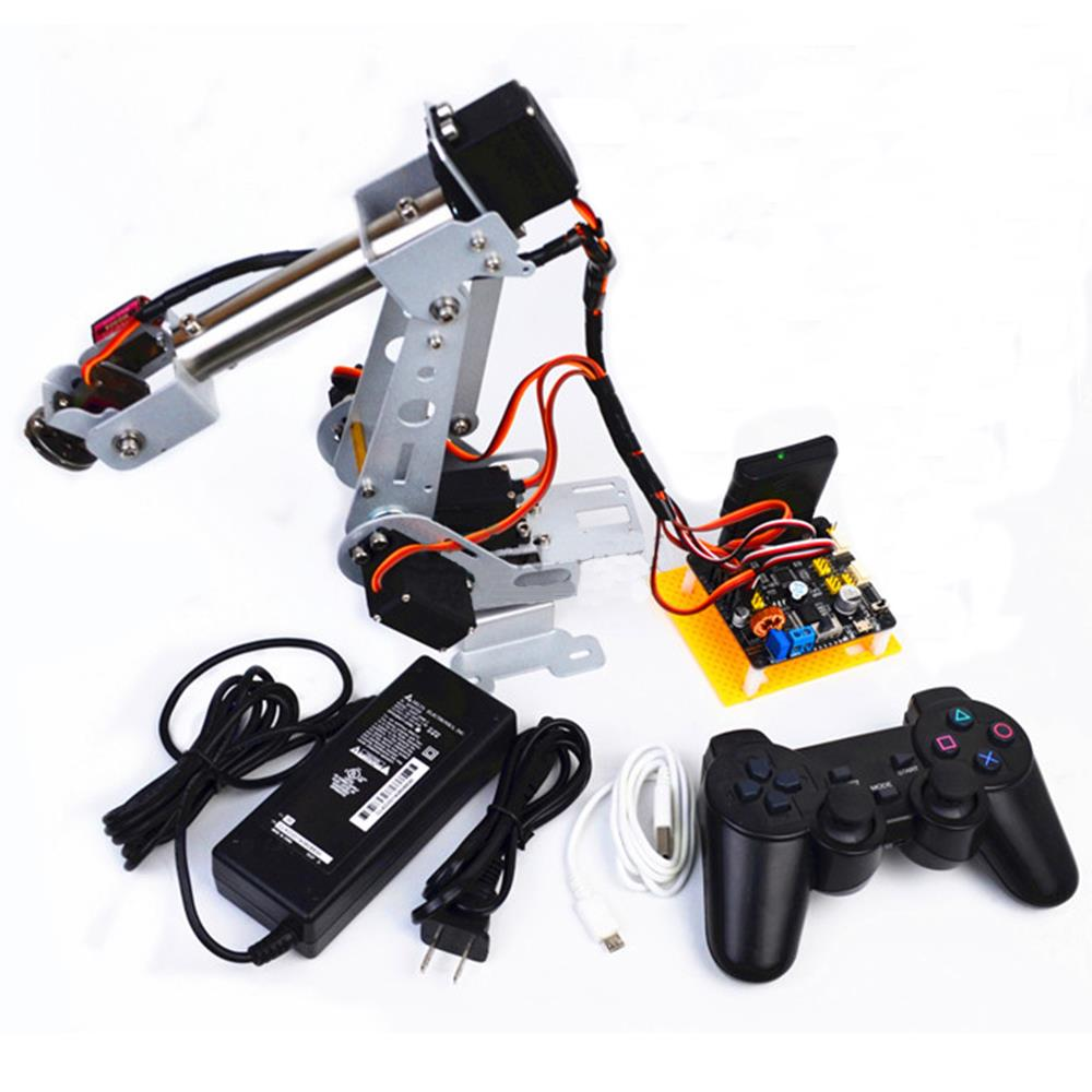 DIY Arduino 6DOF Stainless Steel RC Robot Arm PS2 Stick Control