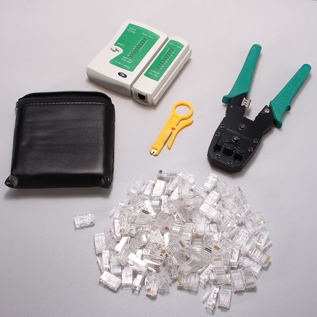 Rj45 Rj11 Rj12 Cat5 Lan Network Wire Stripper Pliers Crimper Cable Plug Wiring Tester Tools Kit Set
