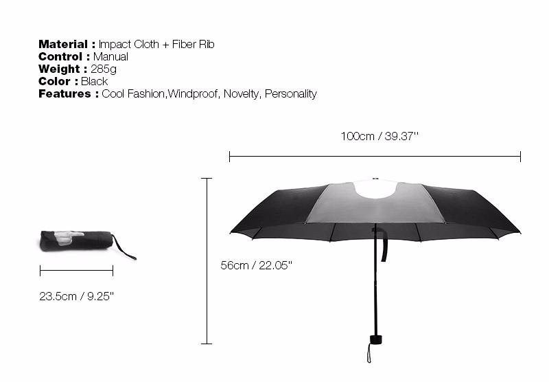 Creative Middle Finger Umbrella Novelty Cool Fashion Black Folding Umbrella