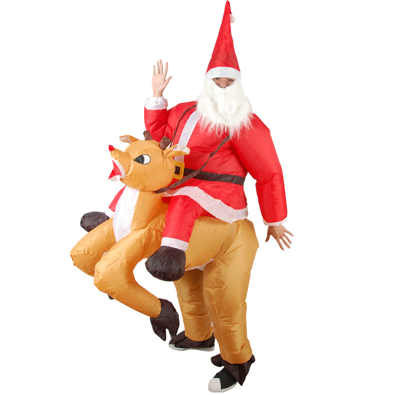 Christmas Party Home Decoration Inflatable Ride Deer Santa Claus Costume Toys Props For Kids Gift