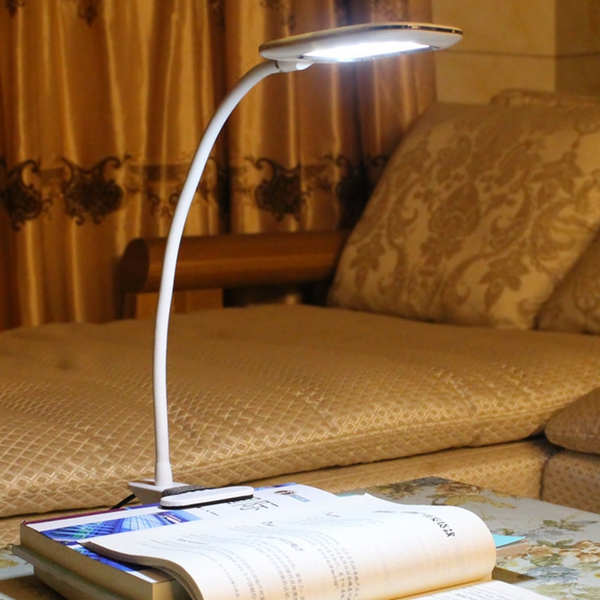 5W Foldable LED Dimming Clip Table Light USB Eye Protection 3 Lighting Colors Reading Lamp for Stduy