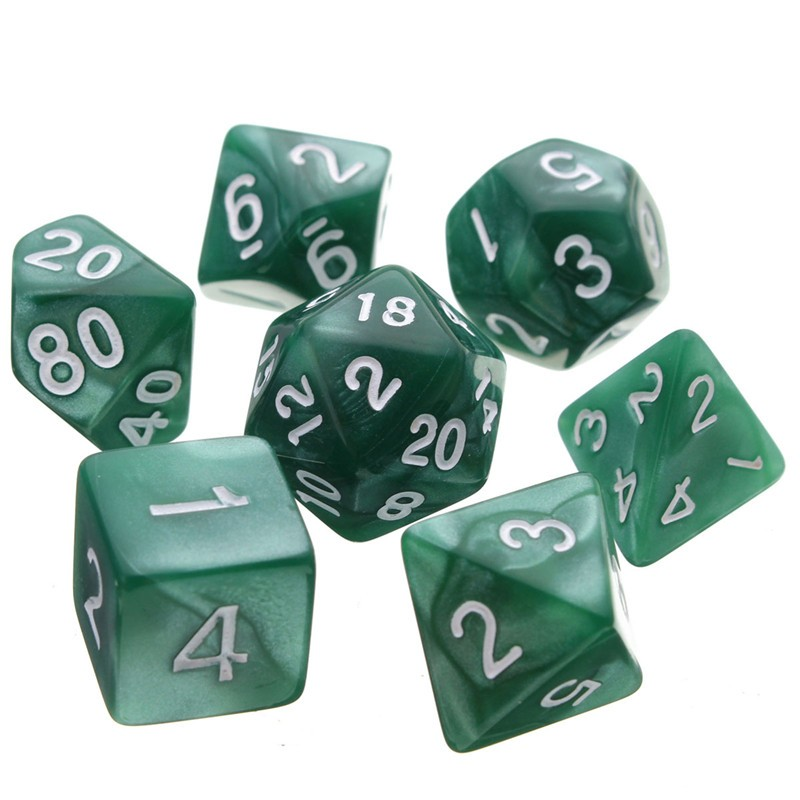 7pcs Multi-sided Polyhedral Digital Acrylic Dice Set