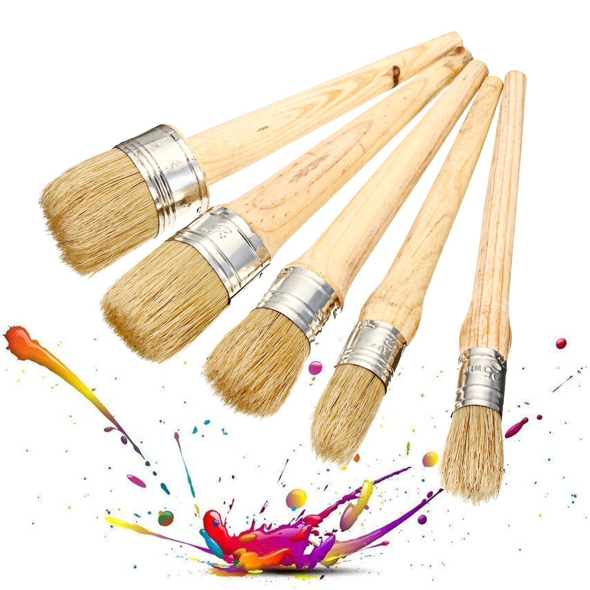 20/25/30/40/50mm Professional Chalk Paint Wax Brushes P