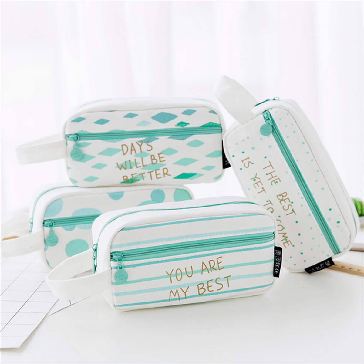 Large Capacity Pencil Case Canvas Pen Box Stationery Pouch Travel Cosmetic Bags Makeup Organizer