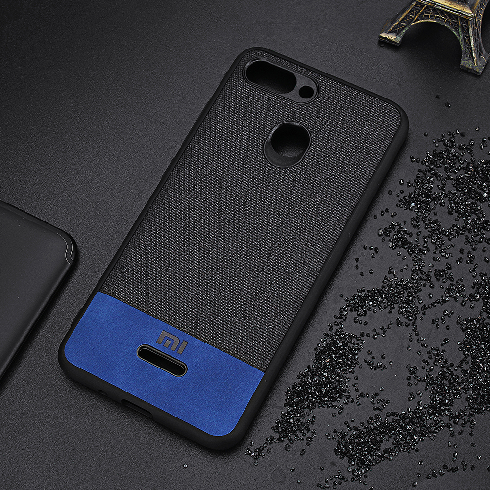 Bakeey Luxury Fabric Splice Soft Edge Shockproof Protective Case For Xiaomi Redmi 6