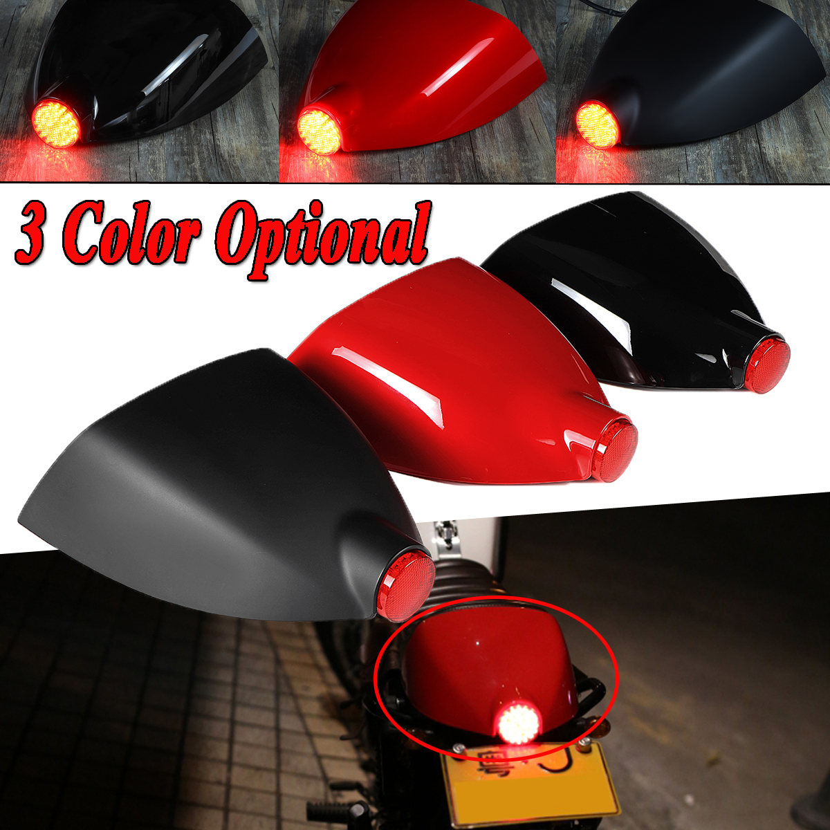 12V Motorcycle Cafe Racer Rear Seat Cowl Cover Fender Splash Guard Tail Light Universal