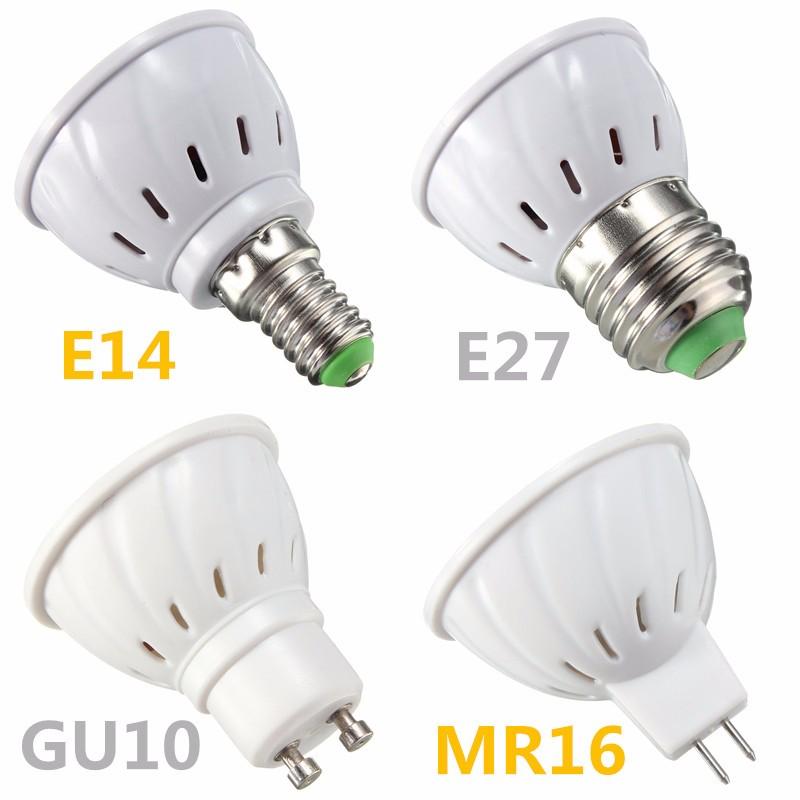 E27 E14 GU10 MR16 4W 60 SMD 2835 LED Pure White Warm White Spot Lightt Bulb AC 110V/220V