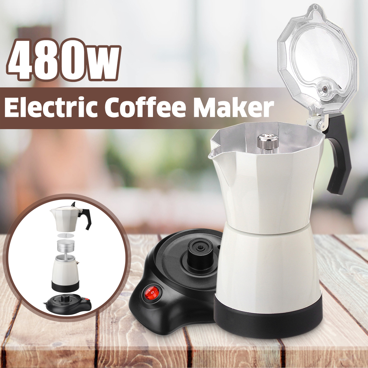 6 Cups Electric Tea Coffee Maker Pot Espresso Machine Mocha Home Office 480W Coffee Machine