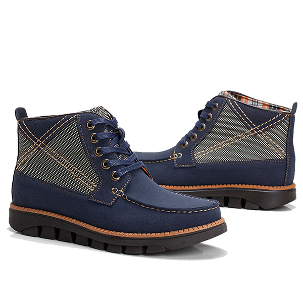 Men Comfortable Hand Stitching Plaid High Top Boots