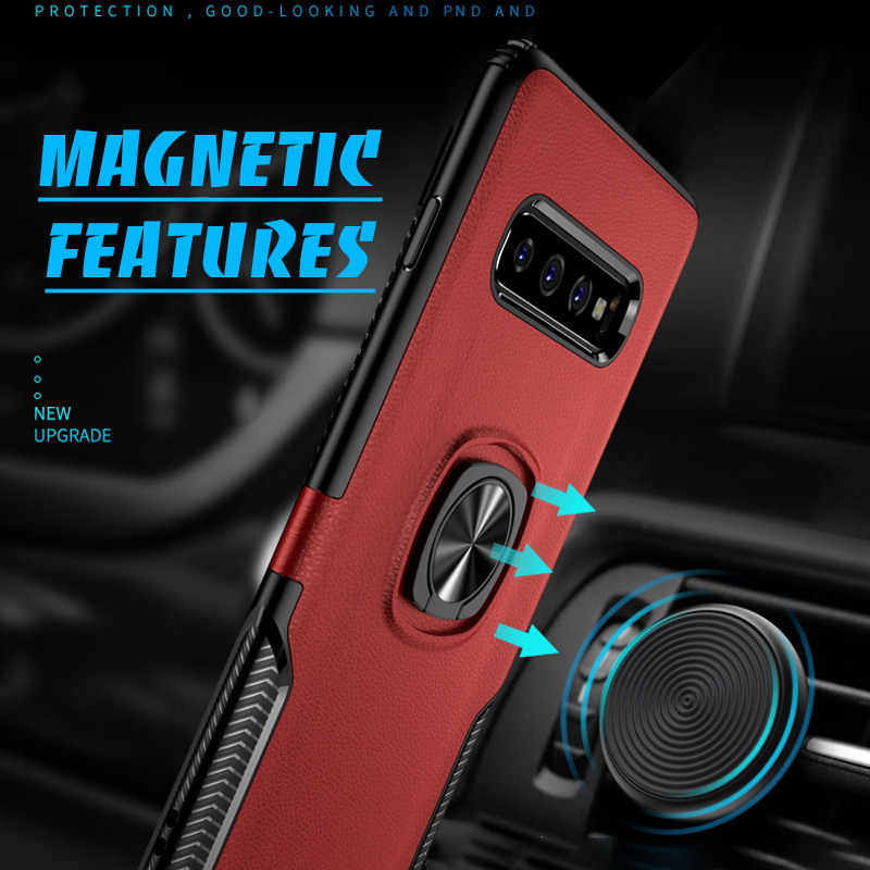 Bakeey Protective Case For Samsung Galaxy S10 Plus 6.4 Inch Ring Grip Bracket Magnetic Adsorption Back Cover