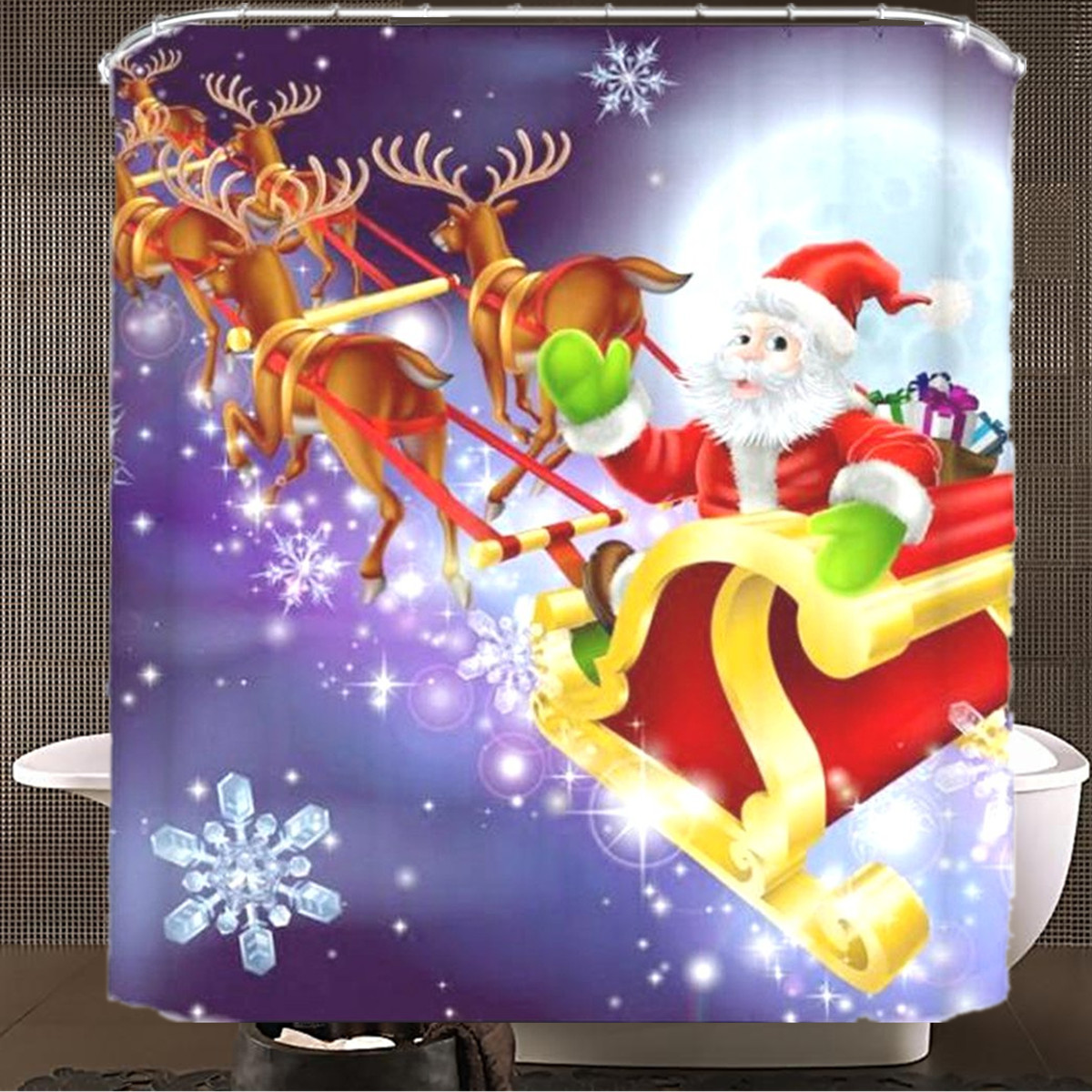 150x180cm Santa Claus Waterproof Polyester Shower Curtain Bathroom Christmas Decor with 12 Hooks