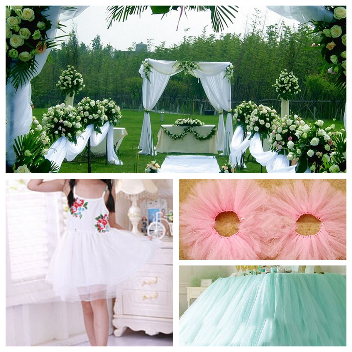 100 Yard 6 Inch Wedding Party Tulle Roll Tutu Trim Decoration