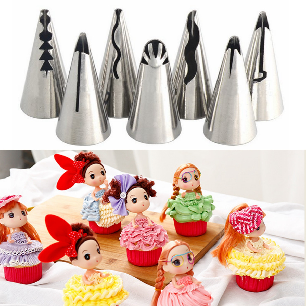 7Pcs DIY Pastry Fondant Cake Icing Piping Nozzles Cake Biscuits Decorating Tips Baking Tool