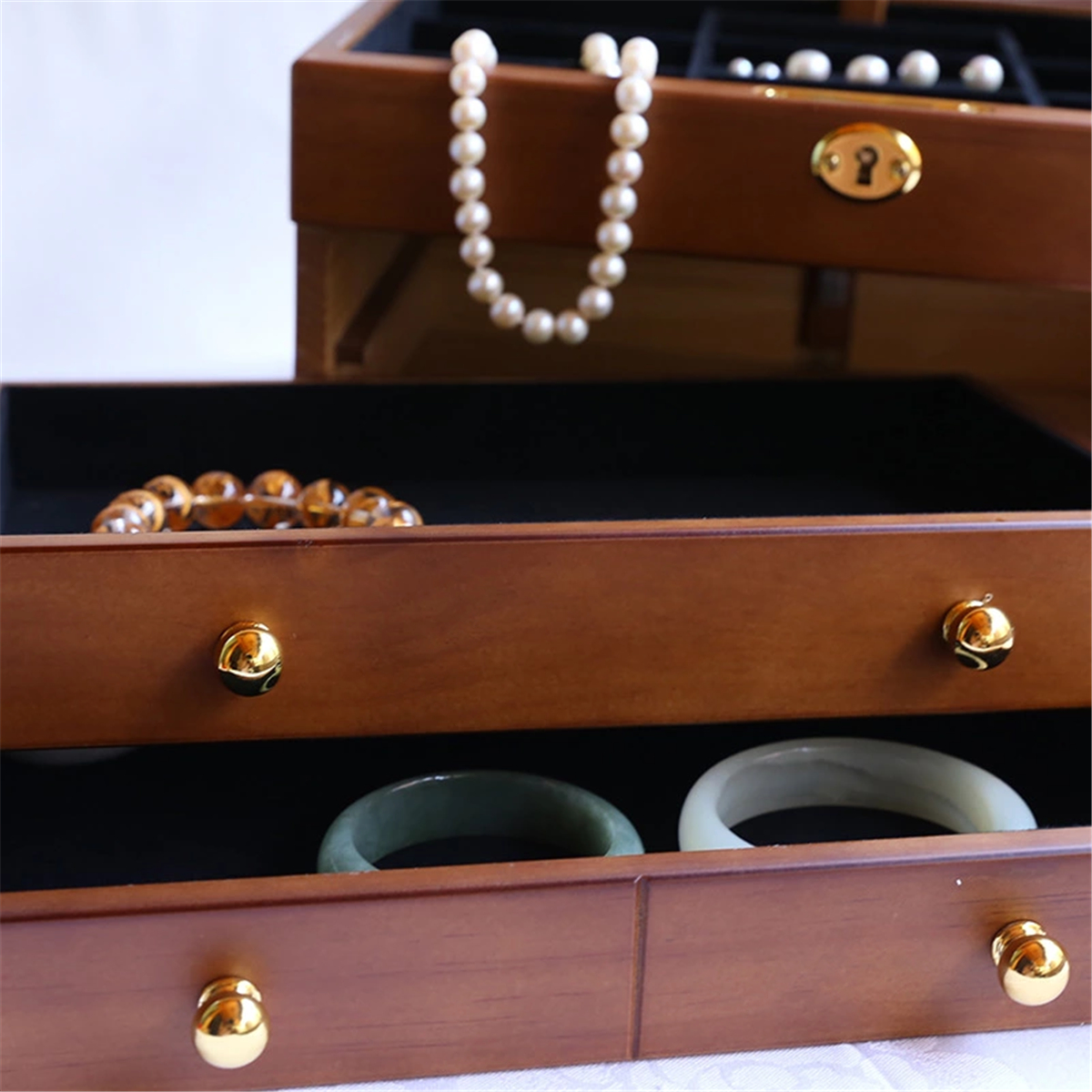 Luxury 3 Layers Wooden Jewelry Box Bracelet Necklace Ring Storage Case Display Holder