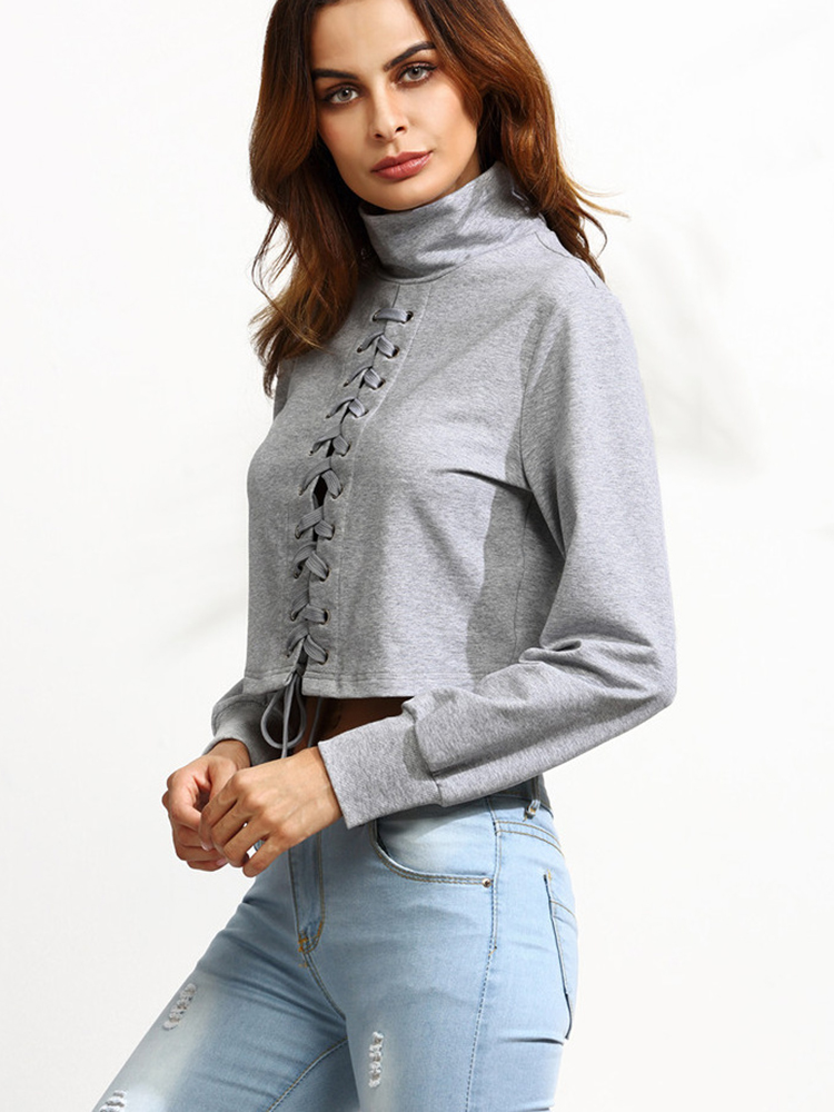 Sexy Women Bandage Solid High Collar Blouses