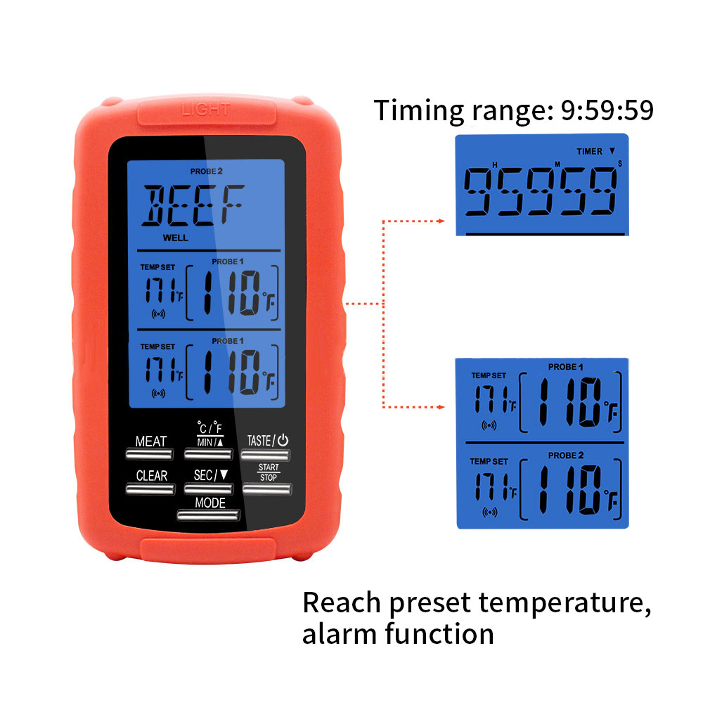 Digital BBQ Thermometer Kitchen Oven Food Cooking Grill Smoker Meat Thermometer with Probe and Timer Temperature Alarm