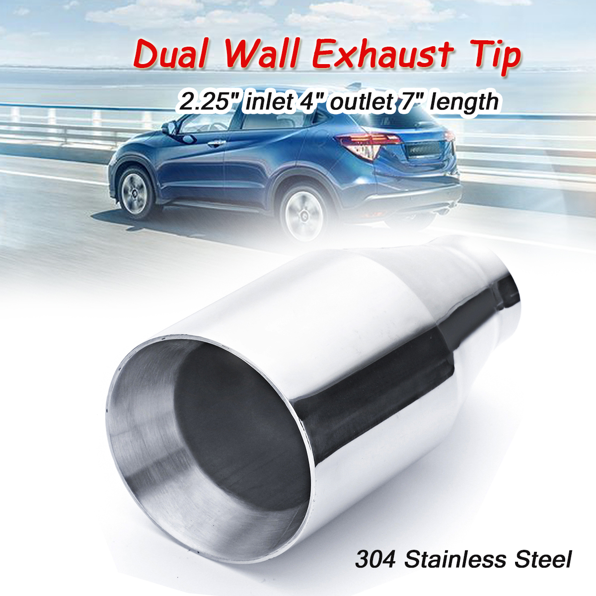 2 25 Inlet 4 Outlet 7 Dual Wall Stainless Steel Exhaust Muffler