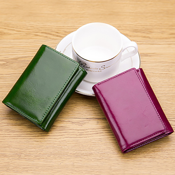 Genuine Leather Trifold Card Holder Small Wallet