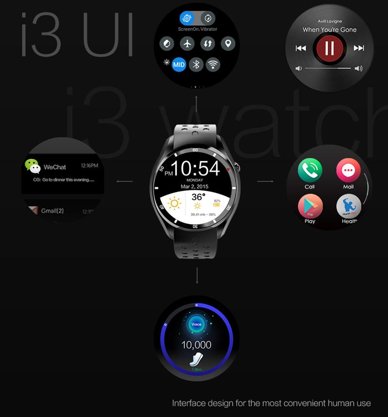 Smart I3 Watch Phone Amoled Screen 1.3G 4 Core GPS WIFI bluetooth 4.0 3G Watch For Android 5.1