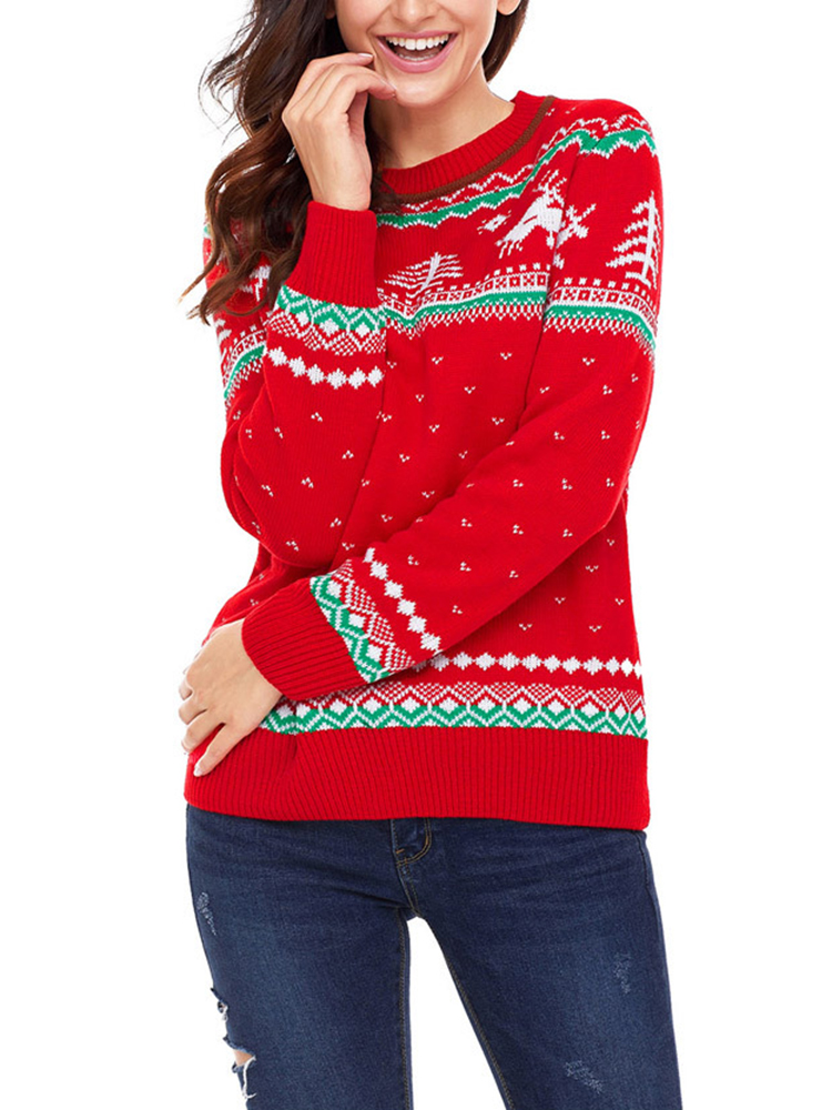 Christmas Women Long Sleeve Printed O-Neck Sweater
