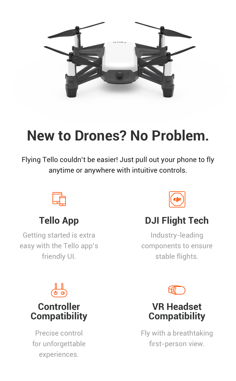 DJI Ryze Tello Drone RTF with 5MP HD Camera 720P WiFi FPV GameSir T1s bluetooth Remote Control