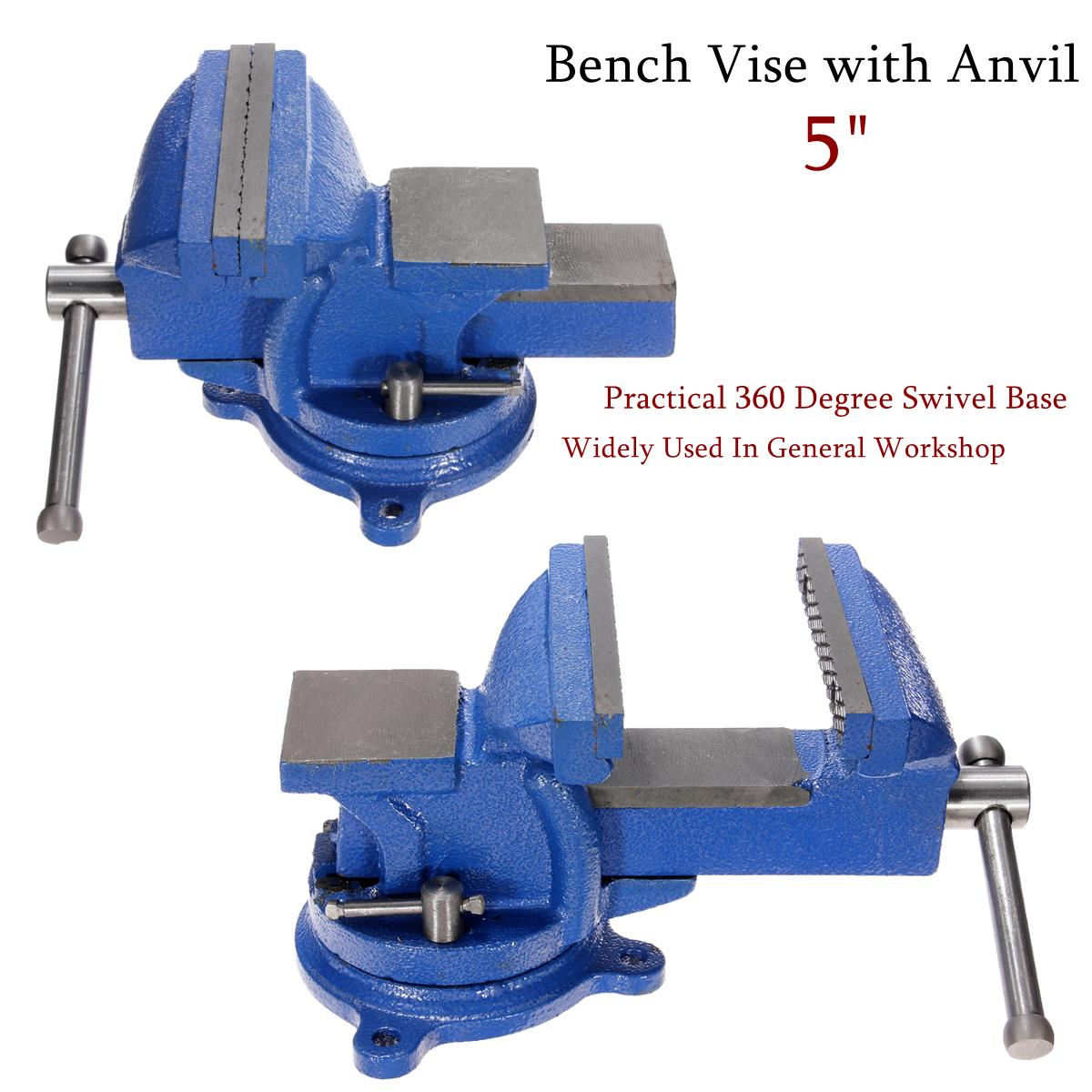 5 Inch Bench Vise with Anvil Swivel Locking Base Table Top Clamp Heavy Duty Steel