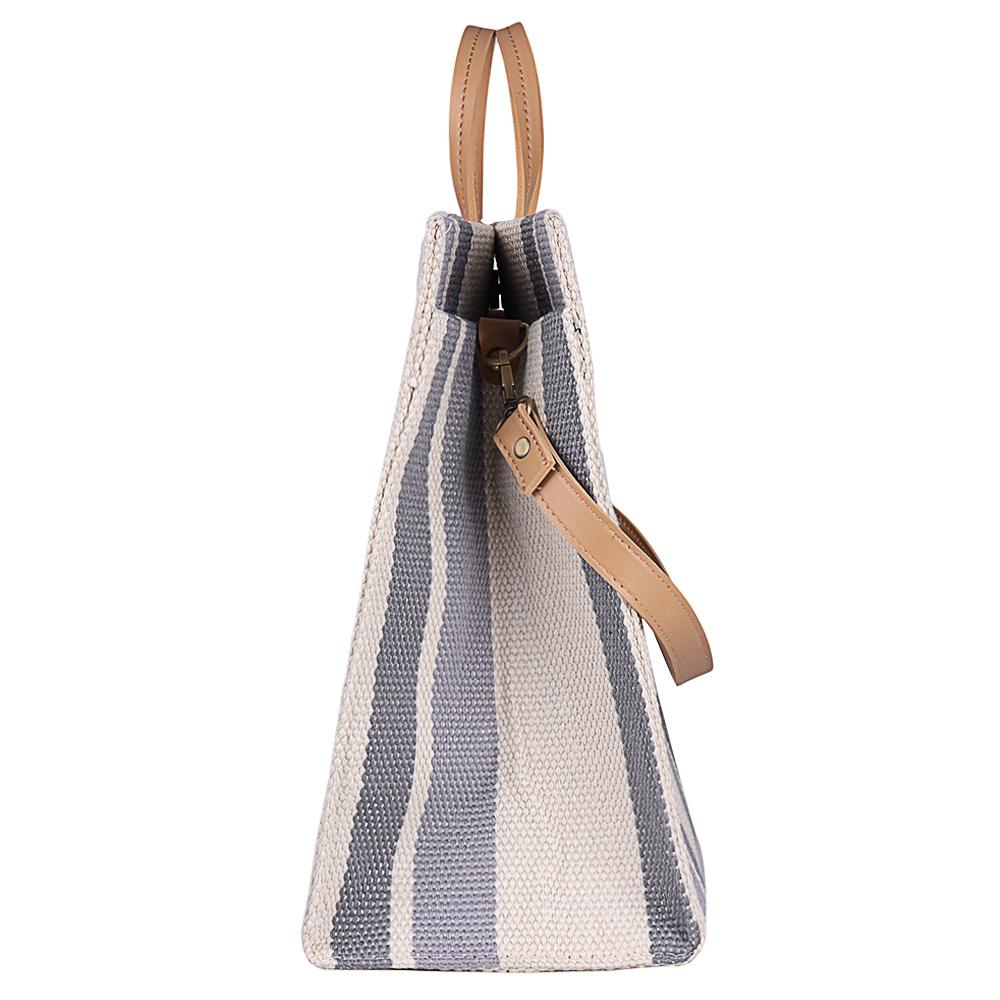 Women Canvas Stitching Color Tote Handbag