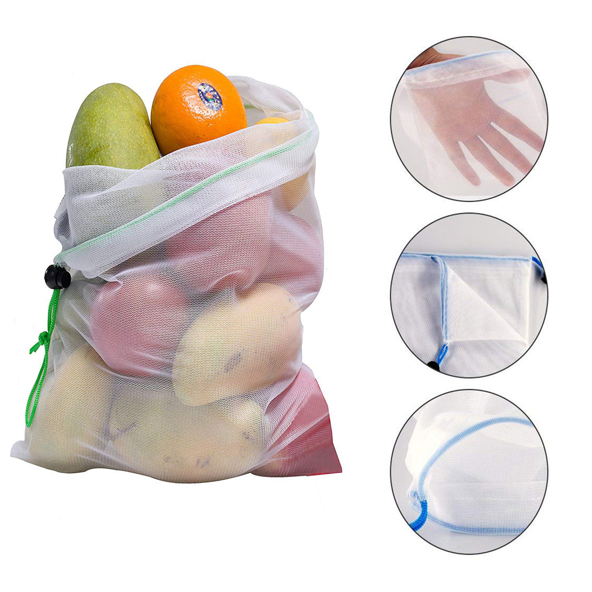 15pcs Reusable Mesh Produce Bags Vegetable Fruit Storage Shopping Grocery Bag