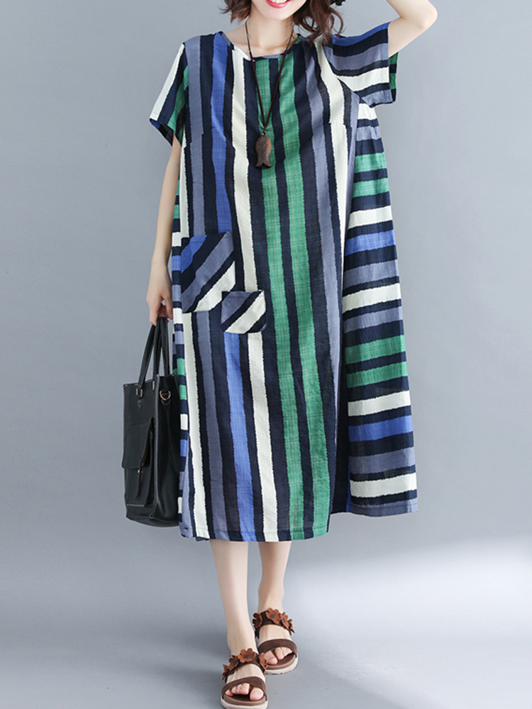 Women Casual O-neck Short Sleeves Striped Loose Dress