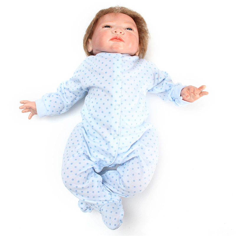 Silicone Soft Realistic Reborn Baby Doll 22 Inch Lifelike Girl Newborn BB Cloth Body Toy