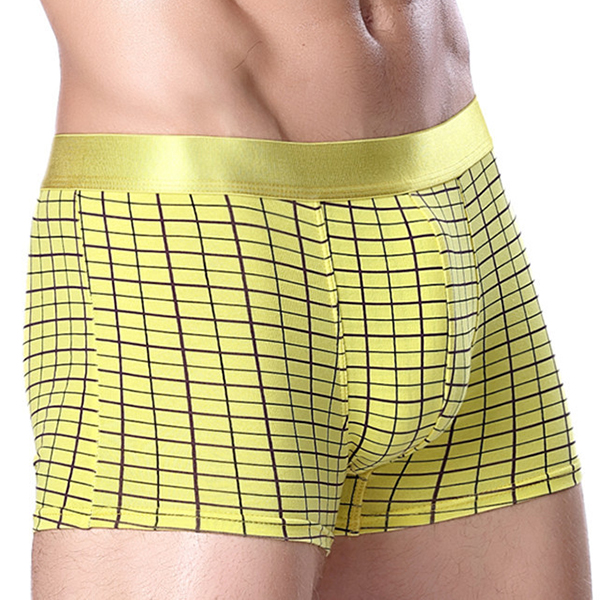 bc8882f81c5f Mens Breathable Comfortable Cotton U Convex Grid Lattice Boxer Underwear
