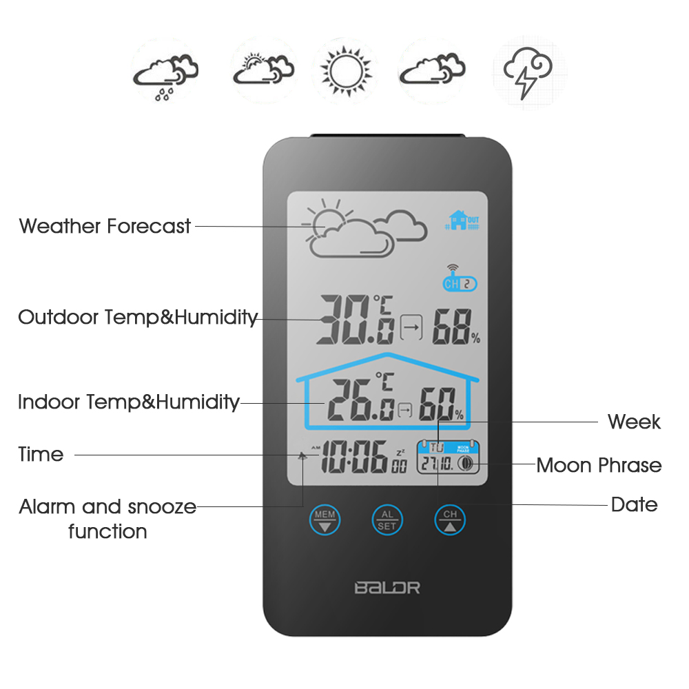 BALDR Wireless LCD Digital Thermometer Hygrometer Weather Forecast Station Moon Phase With Temperature Sensor
