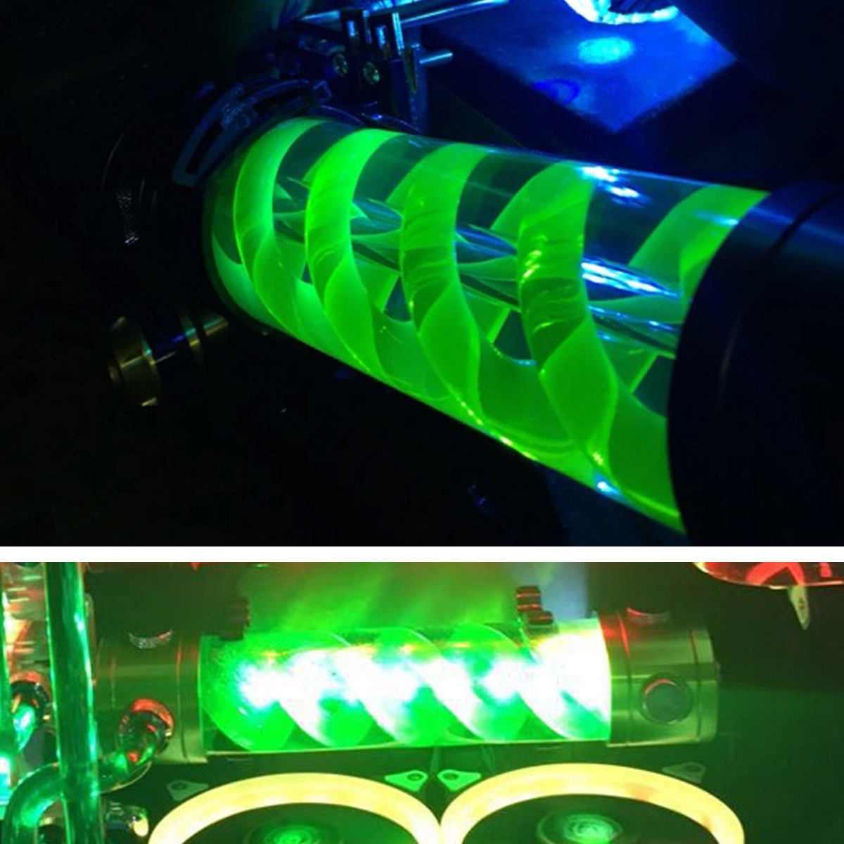 G1/4 Green Computer Cylinder T-Virus Double Helix Suspension Water Cooling Tank