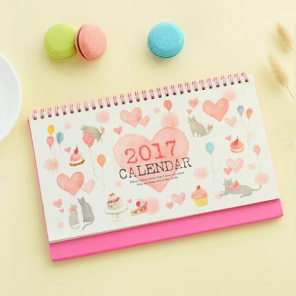 Lovely Cat 2017 Table Calendar Planner Check List Coil Desk Calendar